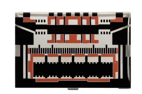Raymond Templier, étui à cigarettes en argent et laque noire et rouge, 1930.